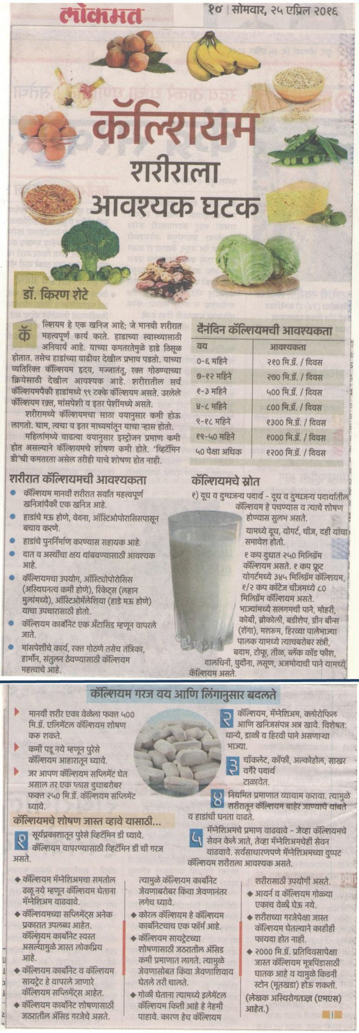 Importance of Calcium for our Body