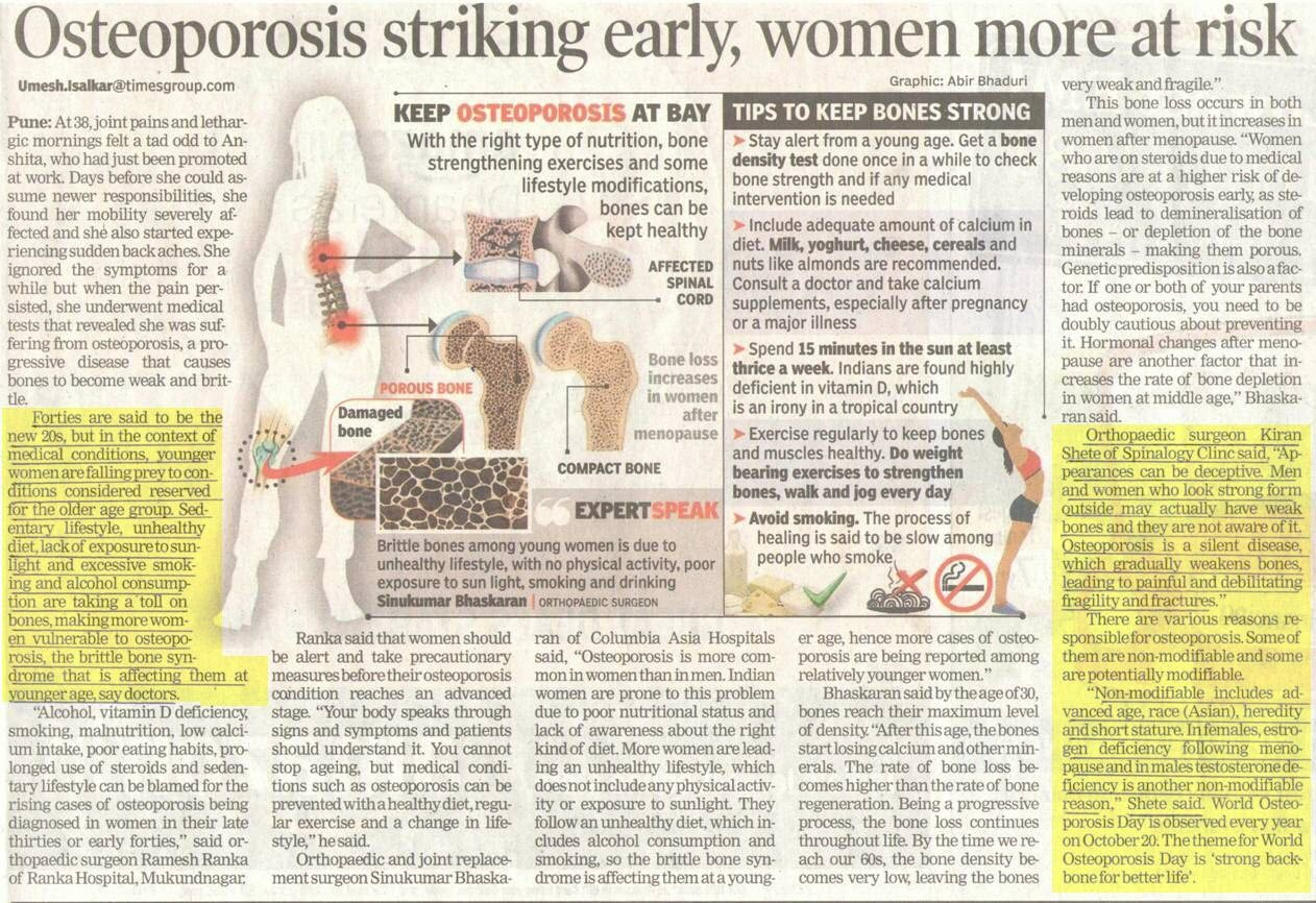 Osteoporosis Striking Early, Women are at More Risk